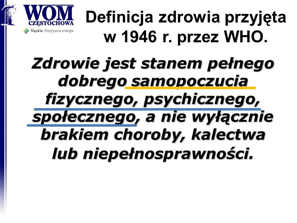 Definicja zdrowia przyjęta w 1946 r. przez WHO.