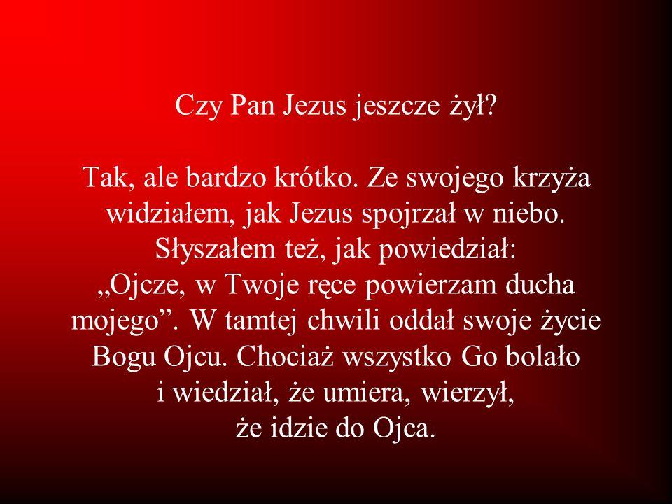 Czy Pan Jezus jeszcze żył. Tak, ale bardzo krótko