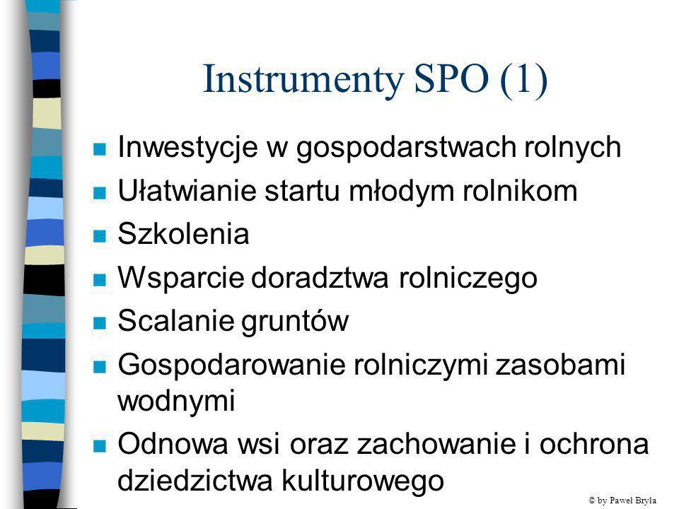 Instrumenty SPO (1) Inwestycje w gospodarstwach rolnych