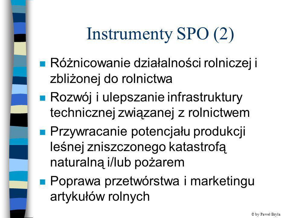 Instrumenty SPO (2) Różnicowanie działalności rolniczej i zbliżonej do rolnictwa.