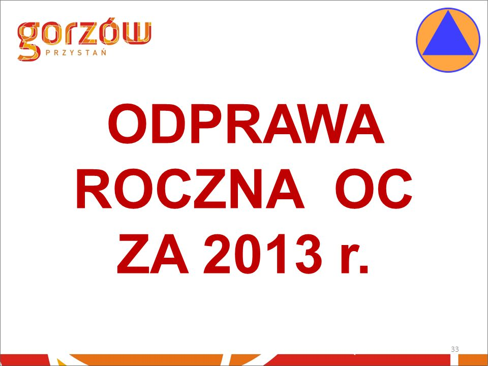 ODPRAWA ROCZNA OC ZA 2013 r.