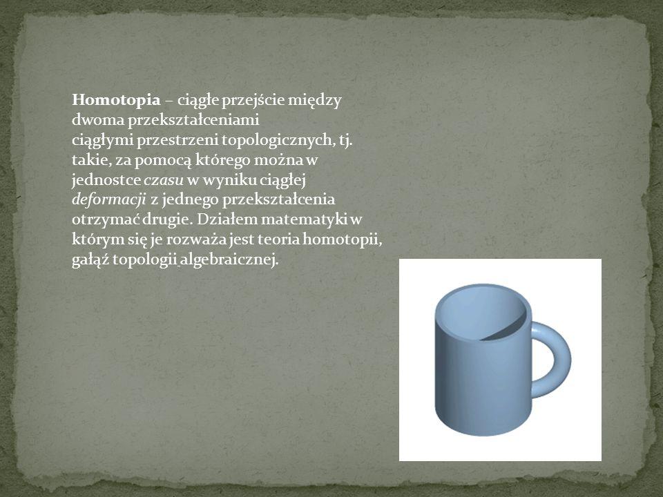 Homotopia – ciągłe przejście między dwoma przekształceniami ciągłymi przestrzeni topologicznych, tj.
