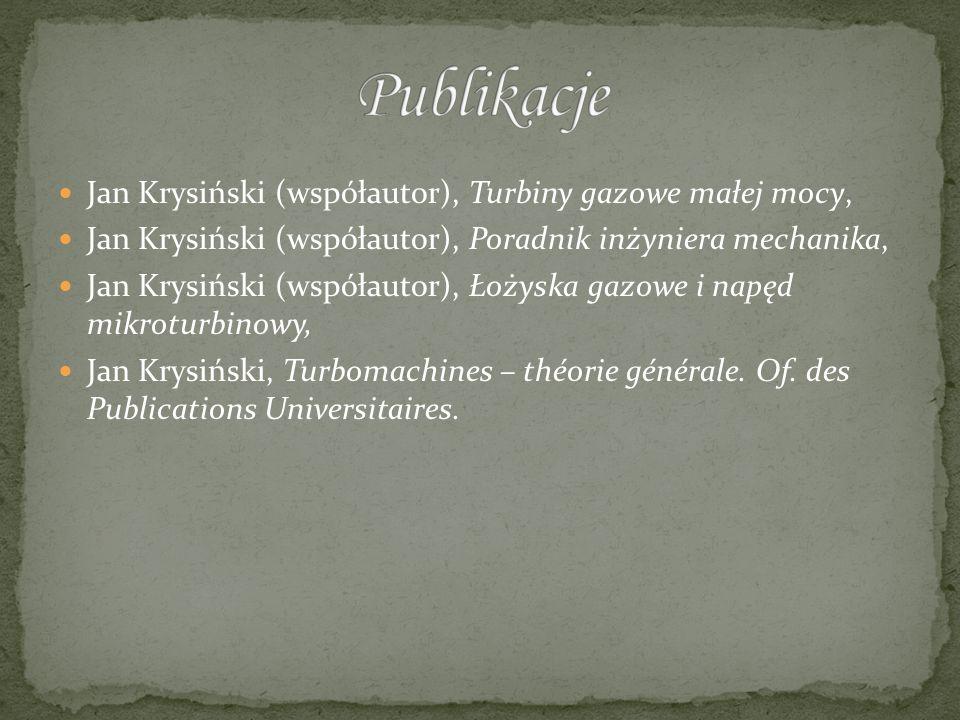 Publikacje Jan Krysiński (współautor), Turbiny gazowe małej mocy,