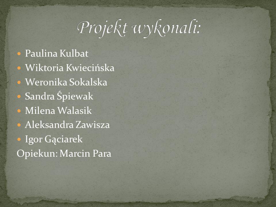 Projekt wykonali: Paulina Kulbat Wiktoria Kwiecińska Weronika Sokalska