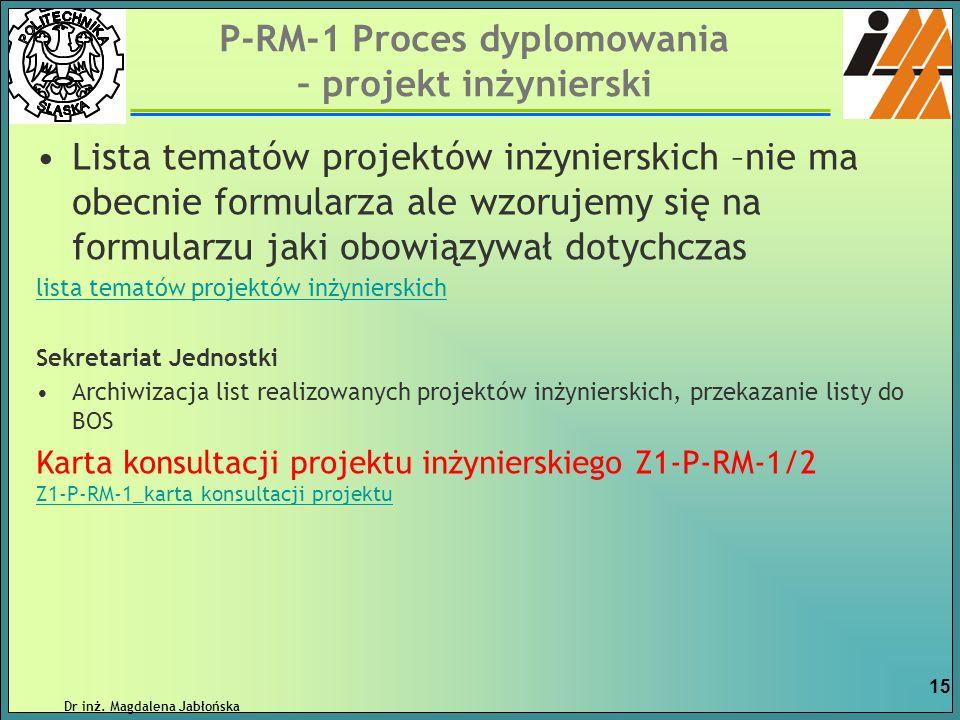 P-RM-1 Proces dyplomowania – projekt inżynierski