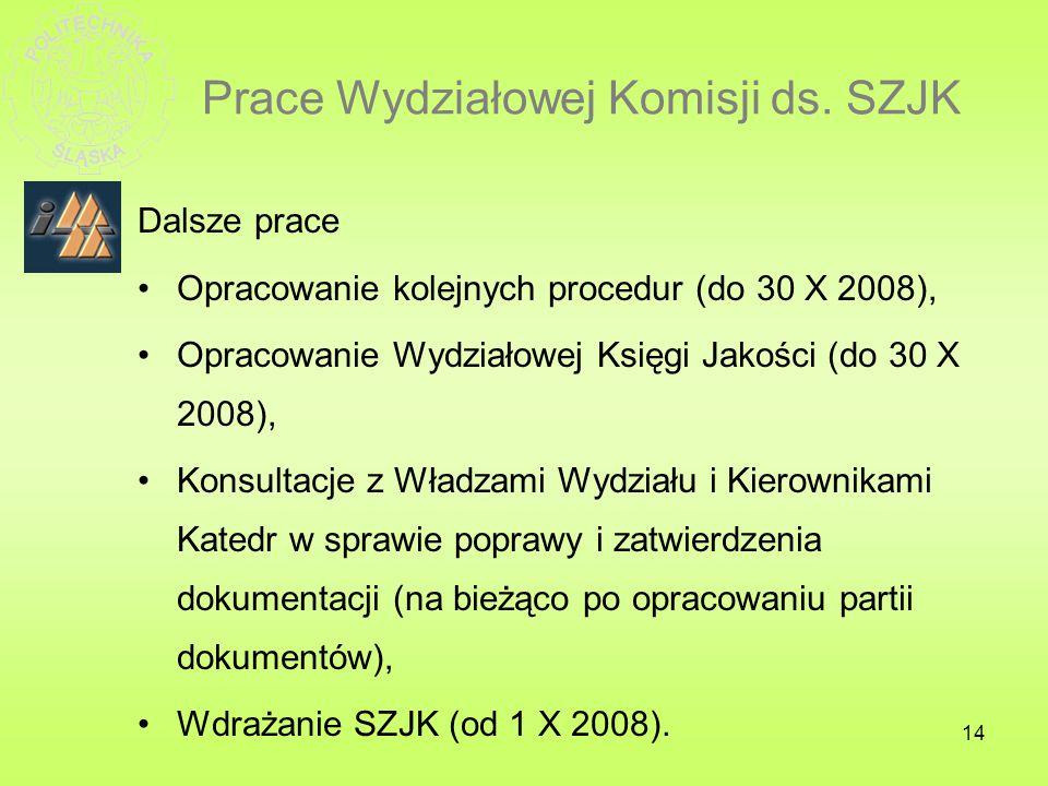 Prace Wydziałowej Komisji ds. SZJK