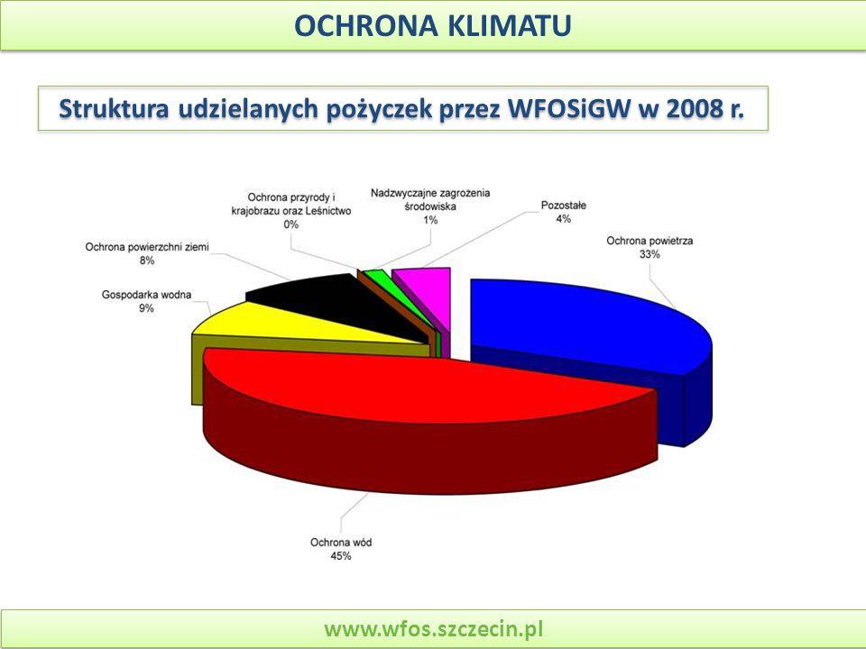 Struktura udzielanych pożyczek przez WFOSiGW w 2008 r.