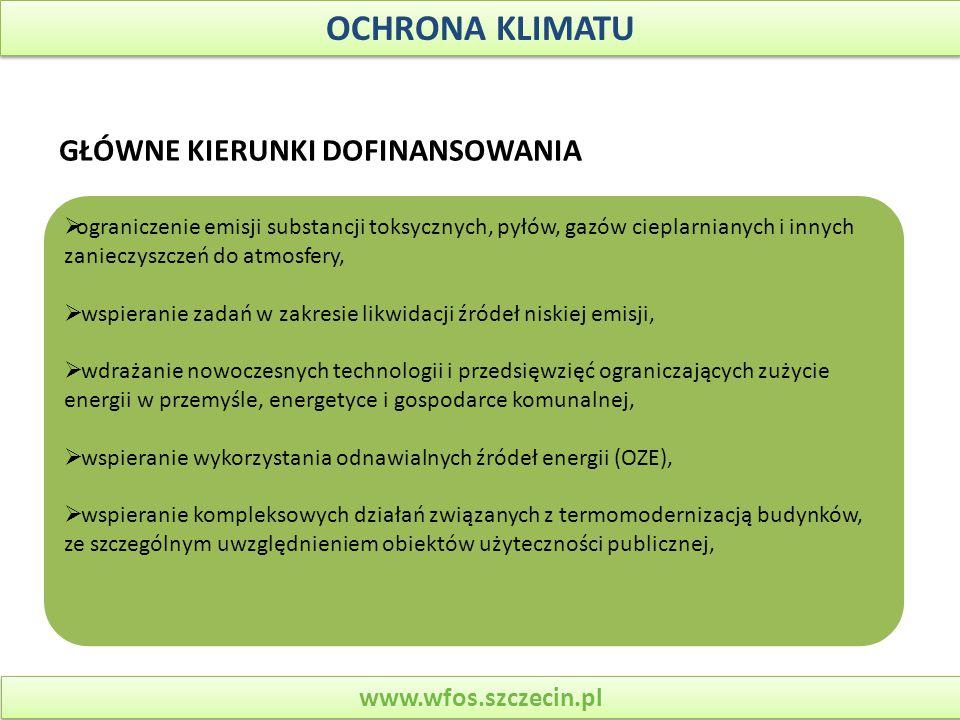 OCHRONA KLIMATU GŁÓWNE KIERUNKI DOFINANSOWANIA www.wfos.szczecin.pl