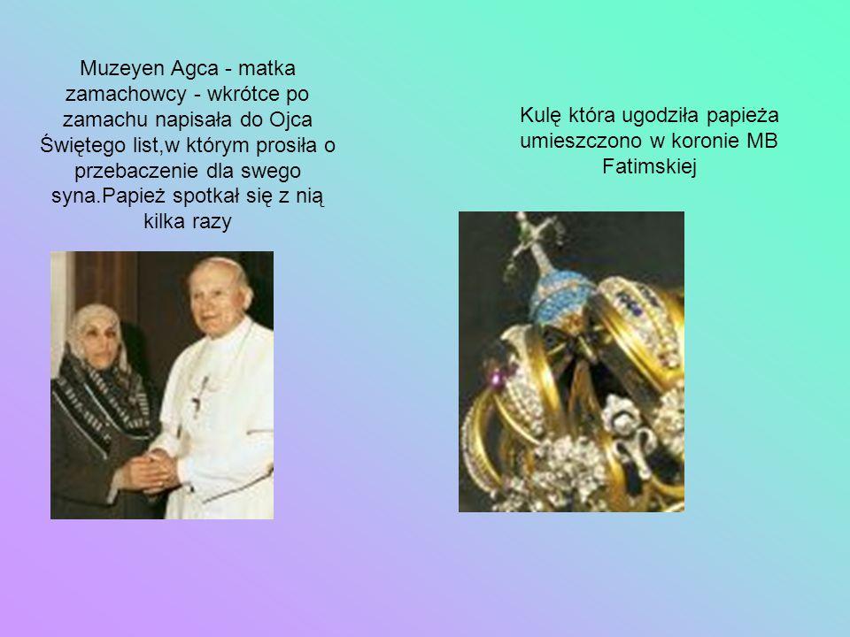 Kulę która ugodziła papieża umieszczono w koronie MB Fatimskiej
