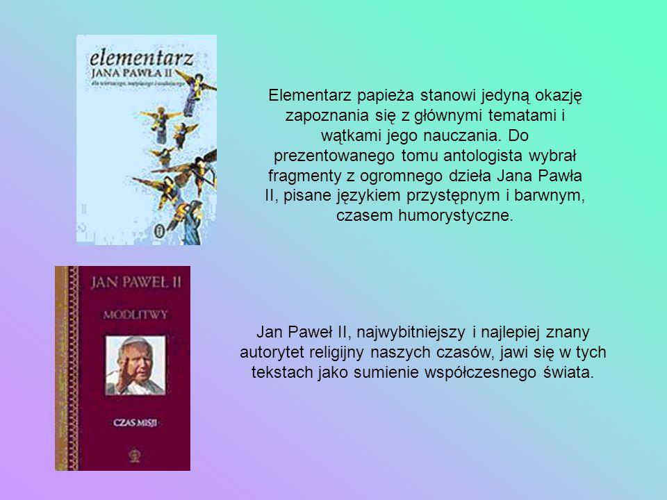Elementarz papieża stanowi jedyną okazję zapoznania się z głównymi tematami i wątkami jego nauczania. Do prezentowanego tomu antologista wybrał fragmenty z ogromnego dzieła Jana Pawła II, pisane językiem przystępnym i barwnym, czasem humorystyczne.
