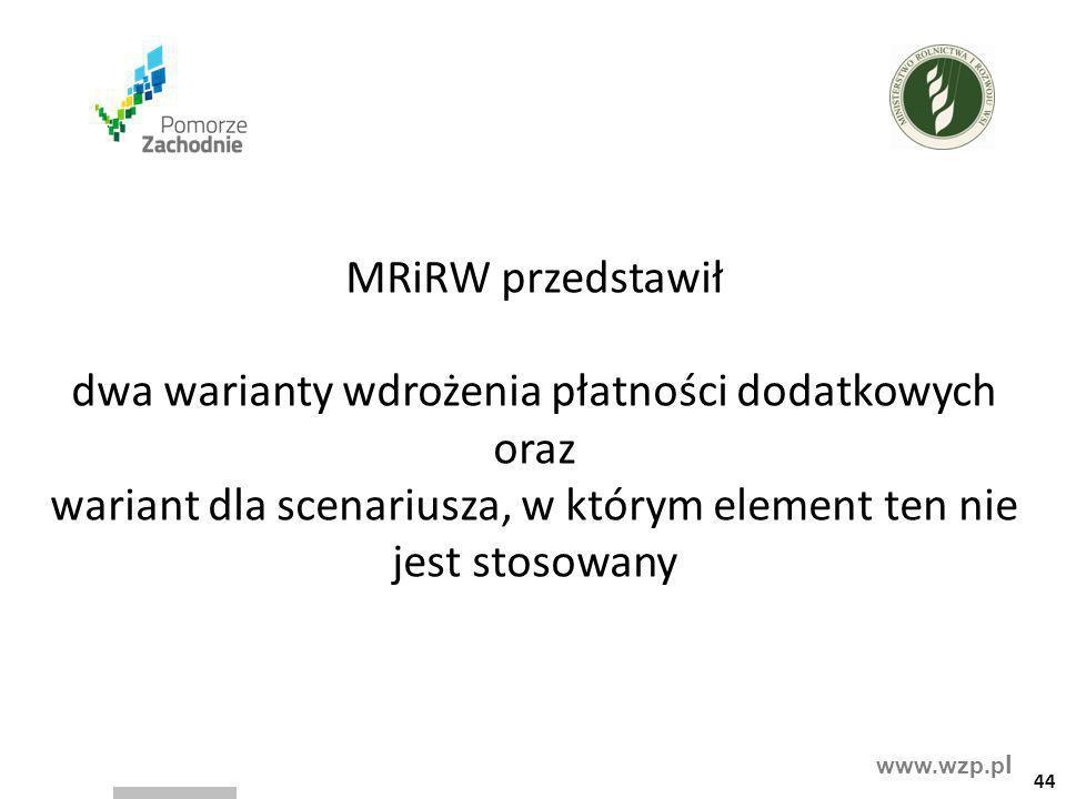 MRiRW przedstawił dwa warianty wdrożenia płatności dodatkowych oraz wariant dla scenariusza, w którym element ten nie jest stosowany