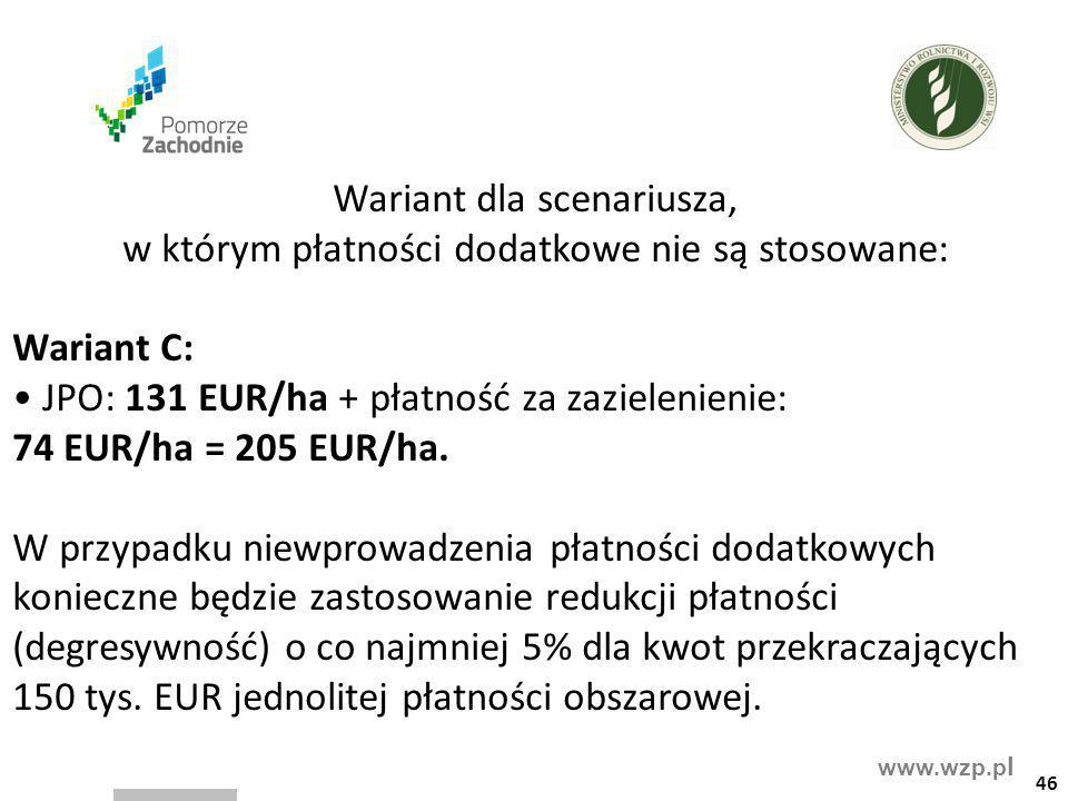 • JPO: 131 EUR/ha + płatność za zazielenienie: 74 EUR/ha = 205 EUR/ha.