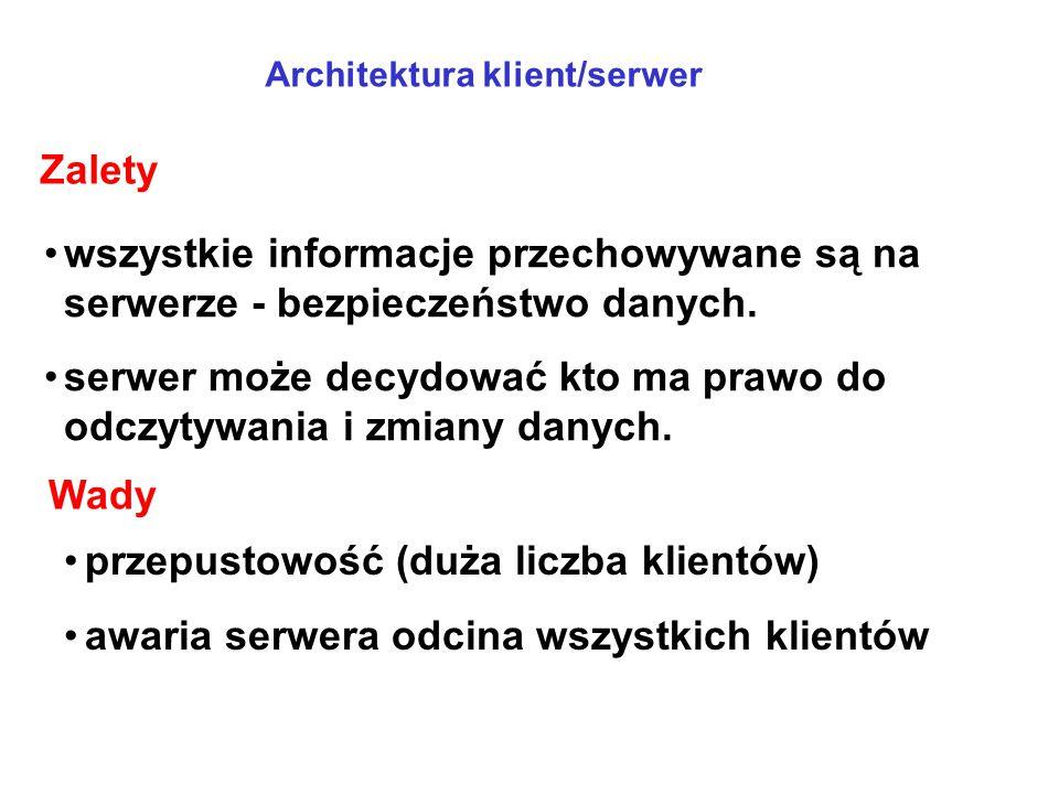 serwer może decydować kto ma prawo do odczytywania i zmiany danych.