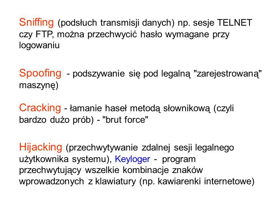 Sniffing (podsłuch transmisji danych) np
