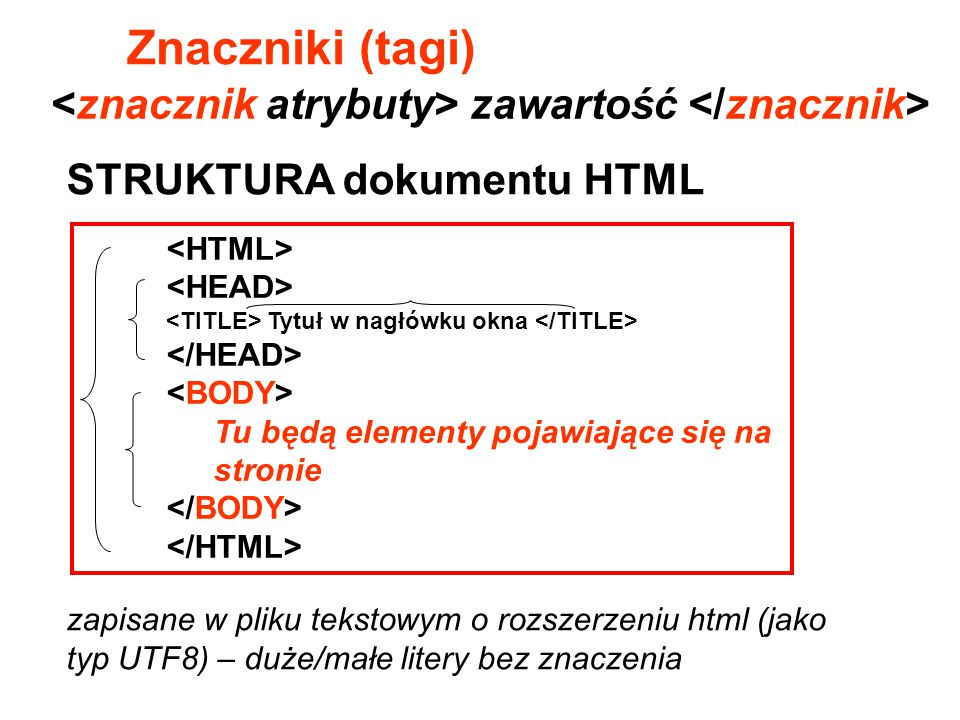 Znaczniki (tagi) <znacznik atrybuty> zawartość </znacznik>