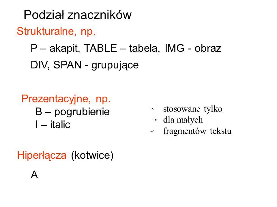 Podział znaczników Strukturalne, np.