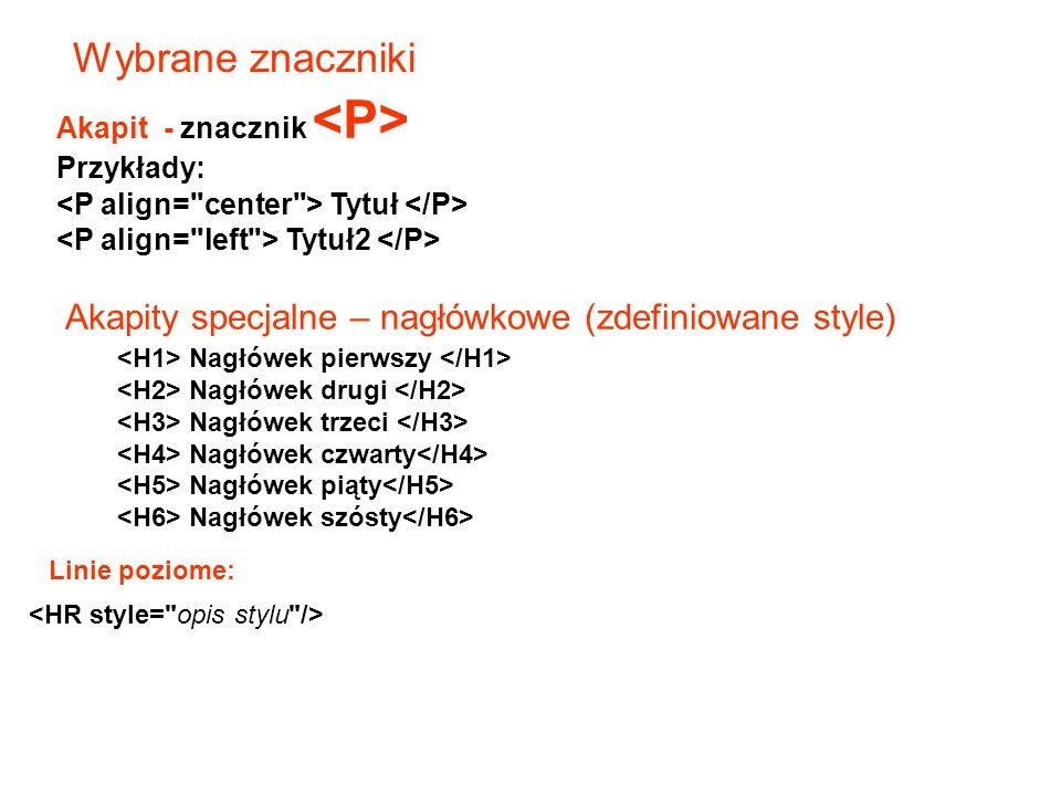 Wybrane znaczniki Akapity specjalne – nagłówkowe (zdefiniowane style)