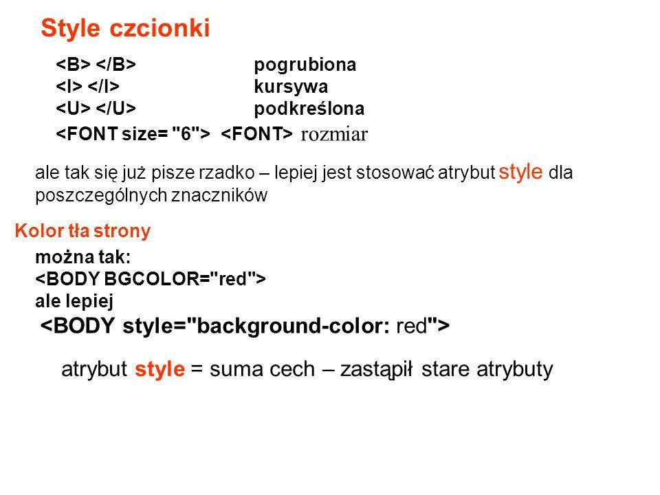 Style czcionki atrybut style = suma cech – zastąpił stare atrybuty
