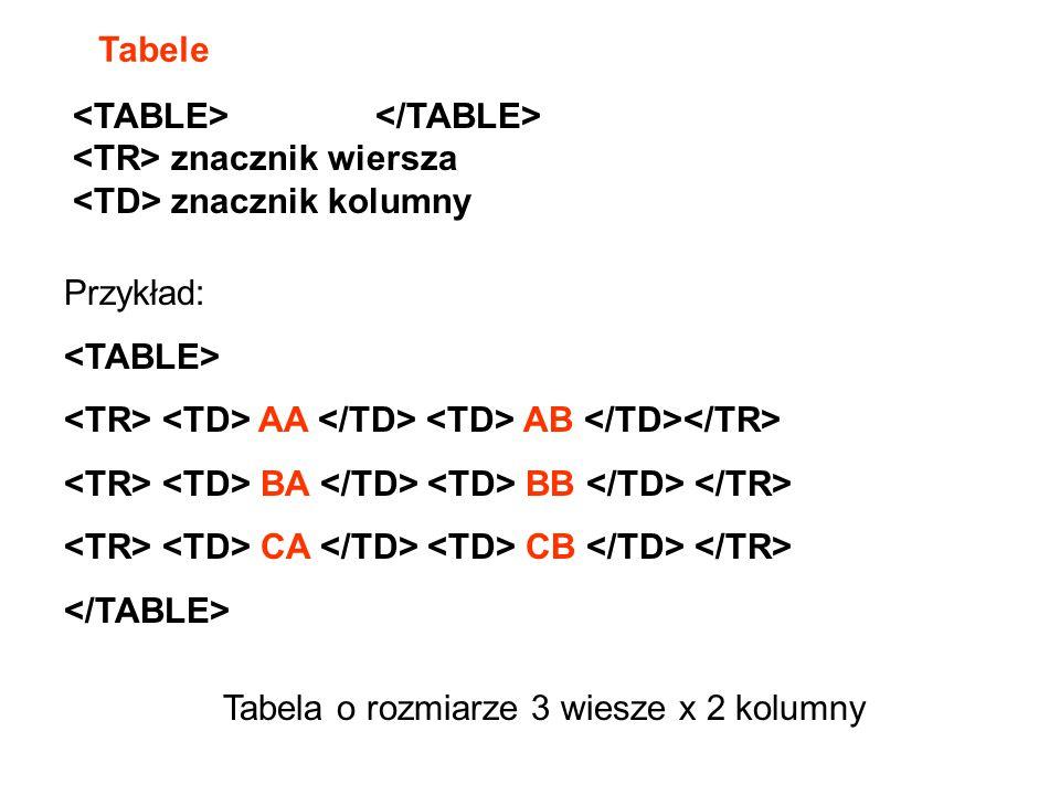 Tabele <TABLE> </TABLE> <TR> znacznik wiersza. <TD> znacznik kolumny. Przykład: <TABLE>