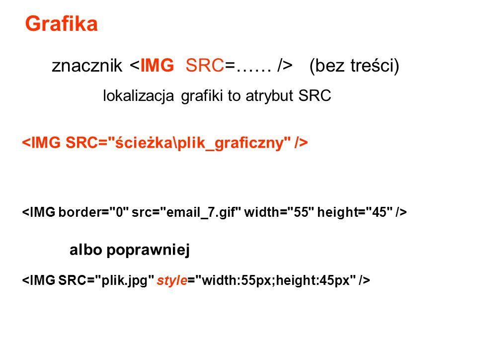 Grafika znacznik <IMG SRC=…… /> (bez treści)