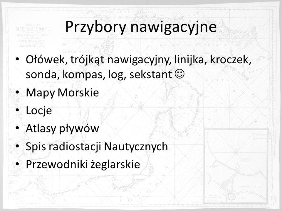 Przybory nawigacyjne Ołówek, trójkąt nawigacyjny, linijka, kroczek, sonda, kompas, log, sekstant  Mapy Morskie.