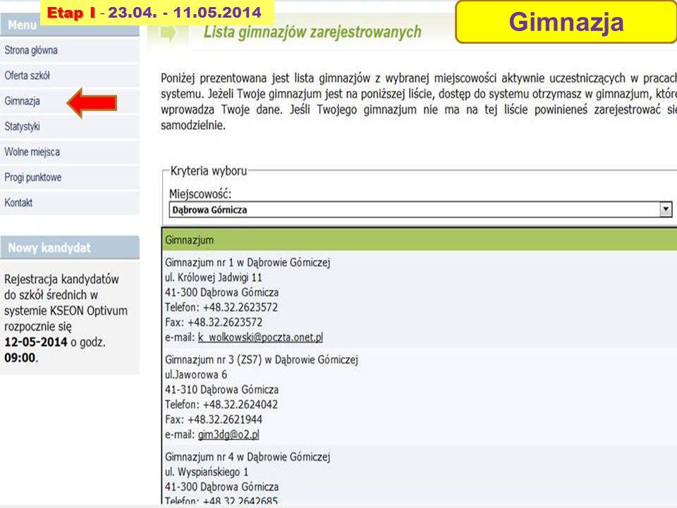 Etap I - 23.04. - 11.05.2014 Gimnazja