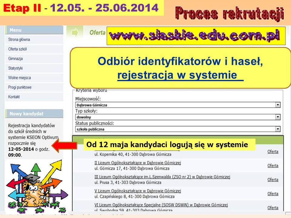 Odbiór identyfikatorów i haseł, rejestracja w systemie_
