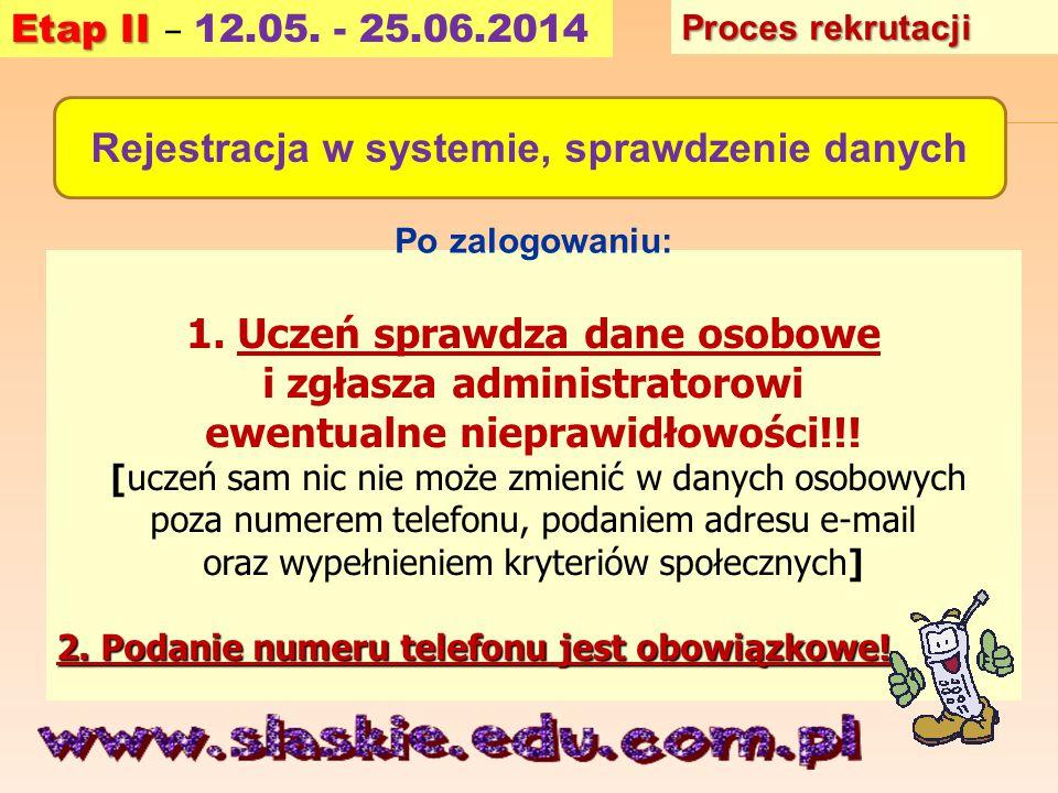 Rejestracja w systemie, sprawdzenie danych