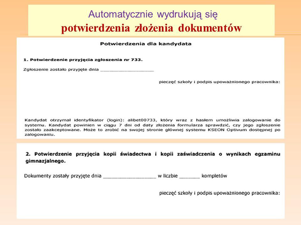 potwierdzenia złożenia dokumentów