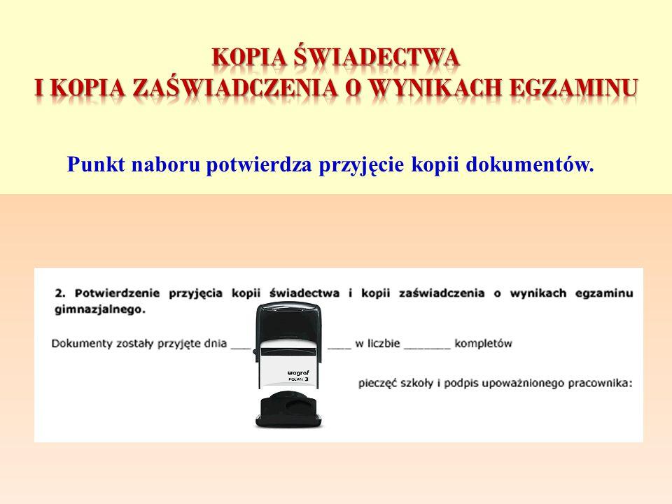 kopiA świadectwa i kopiA zaświadczenia o wynikach egzaminu
