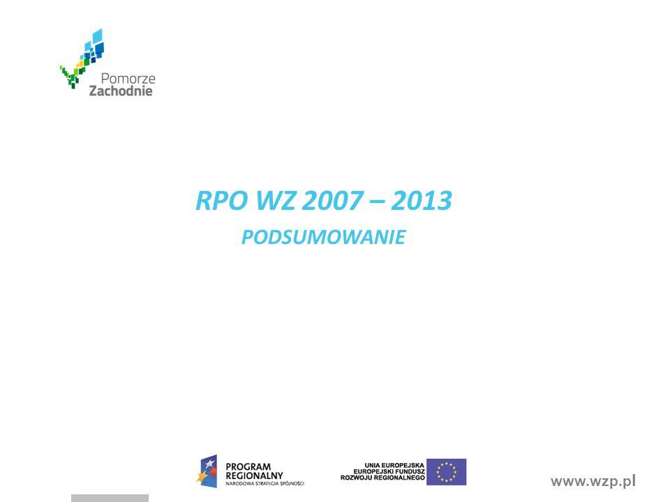 RPO WZ 2007 – 2013 PODSUMOWANIE