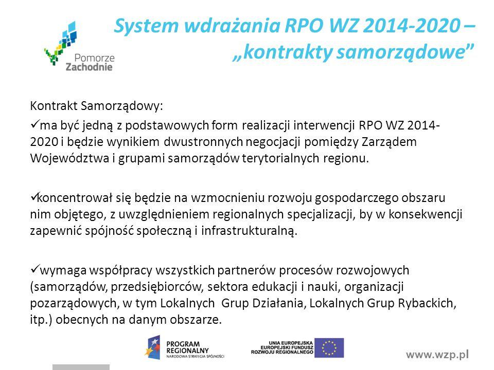 """System wdrażania RPO WZ 2014-2020 – """"kontrakty samorządowe"""