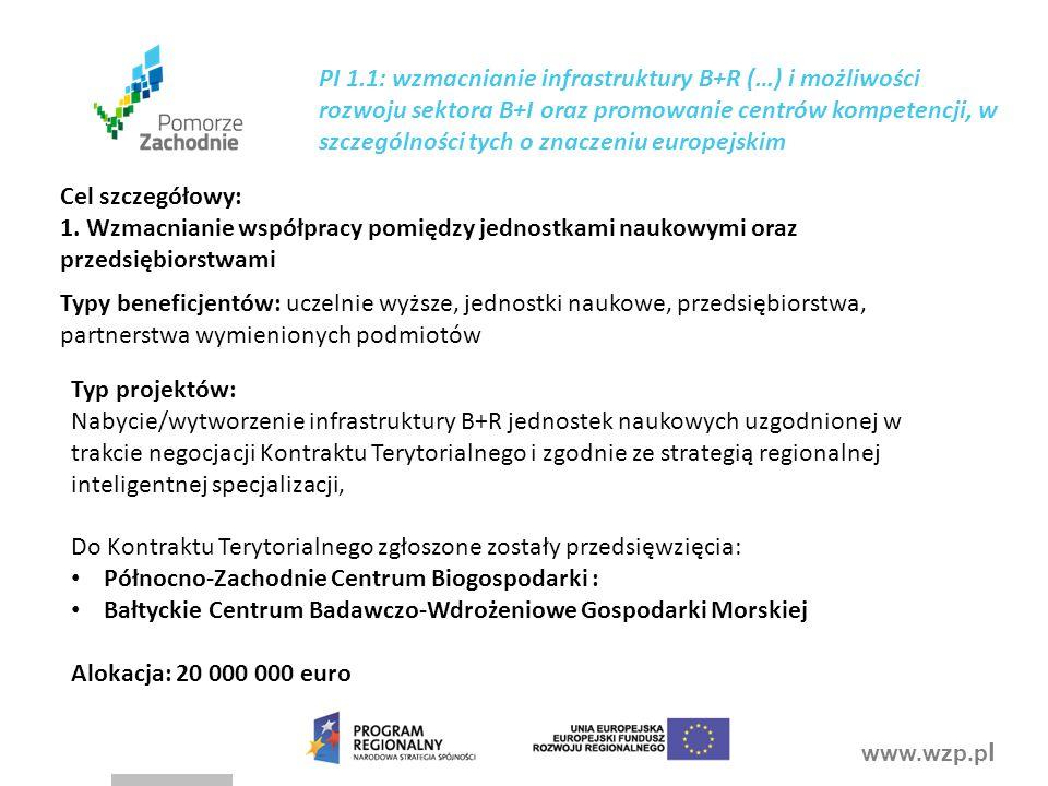 PI 1.1: wzmacnianie infrastruktury B+R (…) i możliwości rozwoju sektora B+I oraz promowanie centrów kompetencji, w szczególności tych o znaczeniu europejskim