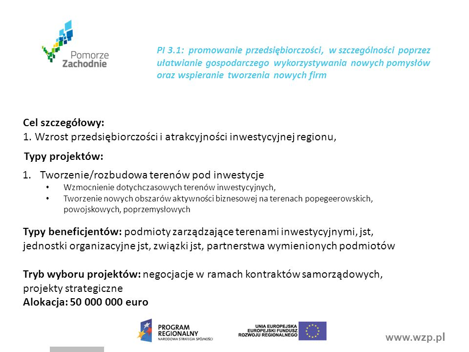 1. Wzrost przedsiębiorczości i atrakcyjności inwestycyjnej regionu,