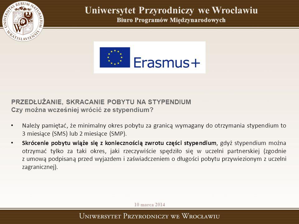Uniwersytet Przyrodniczy we Wrocławiu Biuro Programów Międzynarodowych