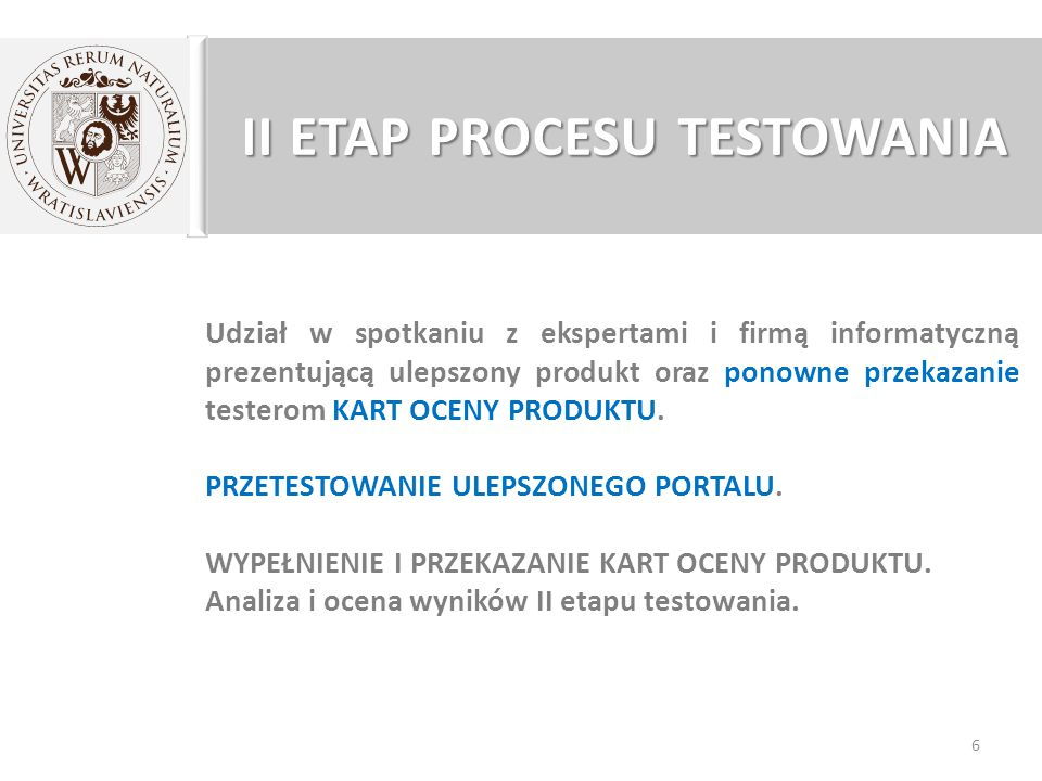 II ETAP PROCESU TESTOWANIA