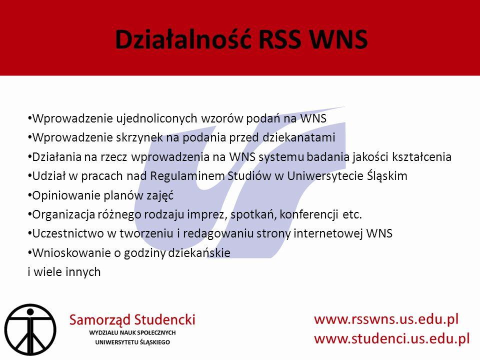 Działalność RSS WNS Wprowadzenie ujednoliconych wzorów podań na WNS
