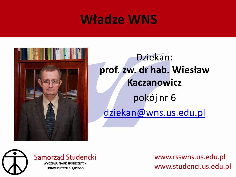 Władze WNS Dziekan: prof. zw. dr hab. Wiesław Kaczanowicz pokój nr 6 dziekan@wns.us.edu.pl