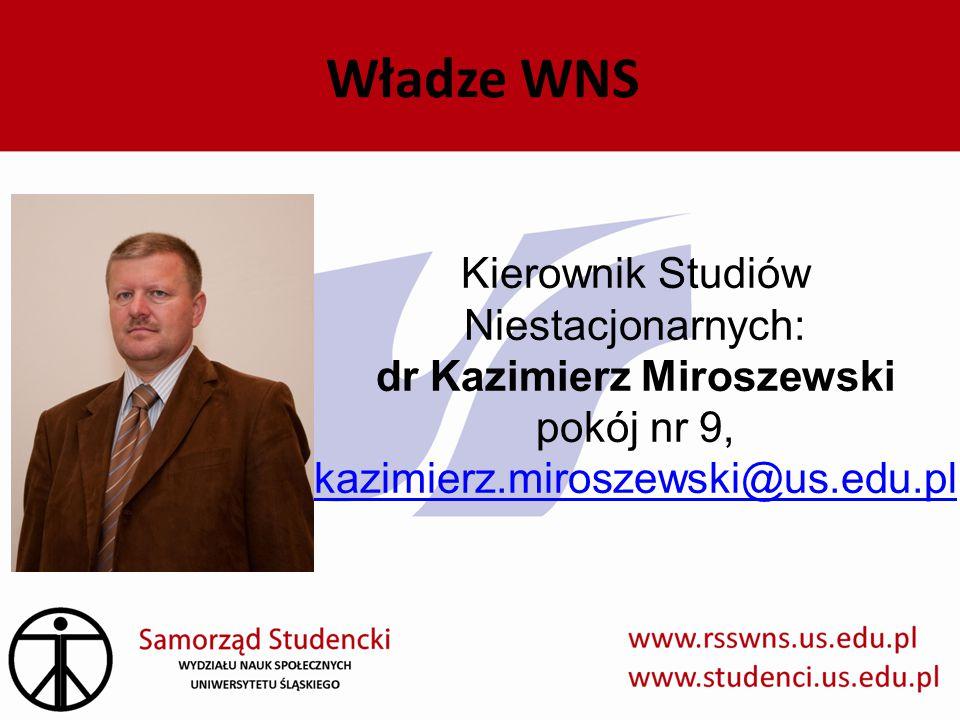 Władze WNS Kierownik Studiów Niestacjonarnych: