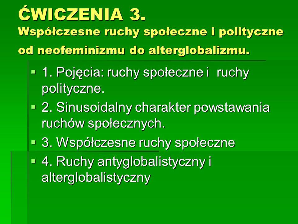 ĆWICZENIA 3. Współczesne ruchy społeczne i polityczne od neofeminizmu do alterglobalizmu.