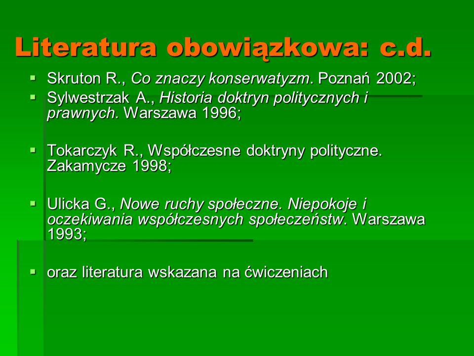 Literatura obowiązkowa: c.d.