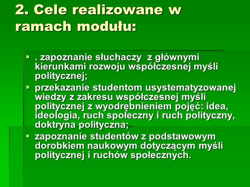 2. Cele realizowane w ramach modułu: