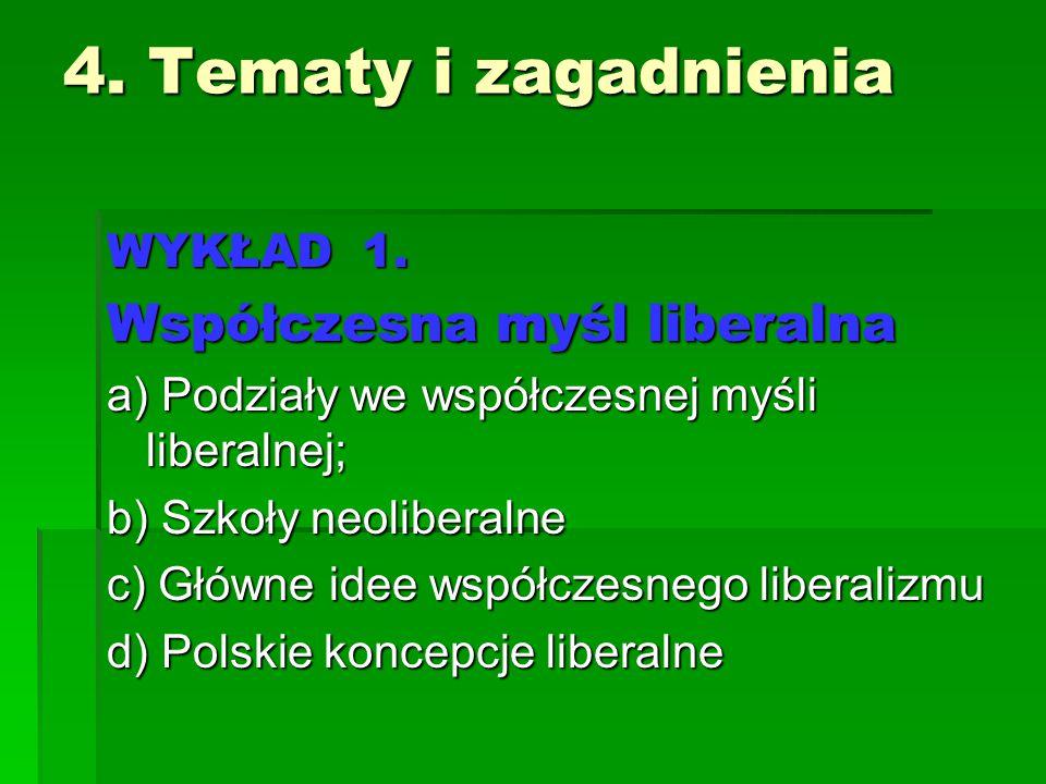4. Tematy i zagadnienia Współczesna myśl liberalna WYKŁAD 1.
