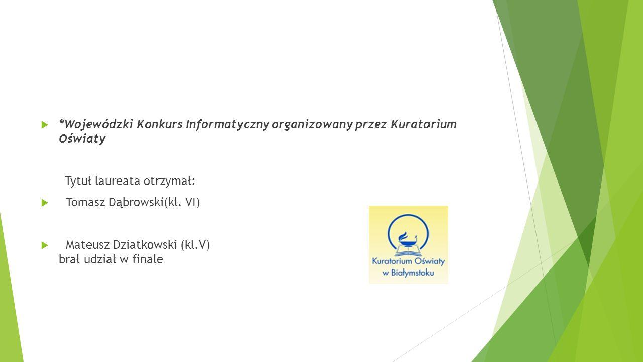 *Wojewódzki Konkurs Informatyczny organizowany przez Kuratorium Oświaty