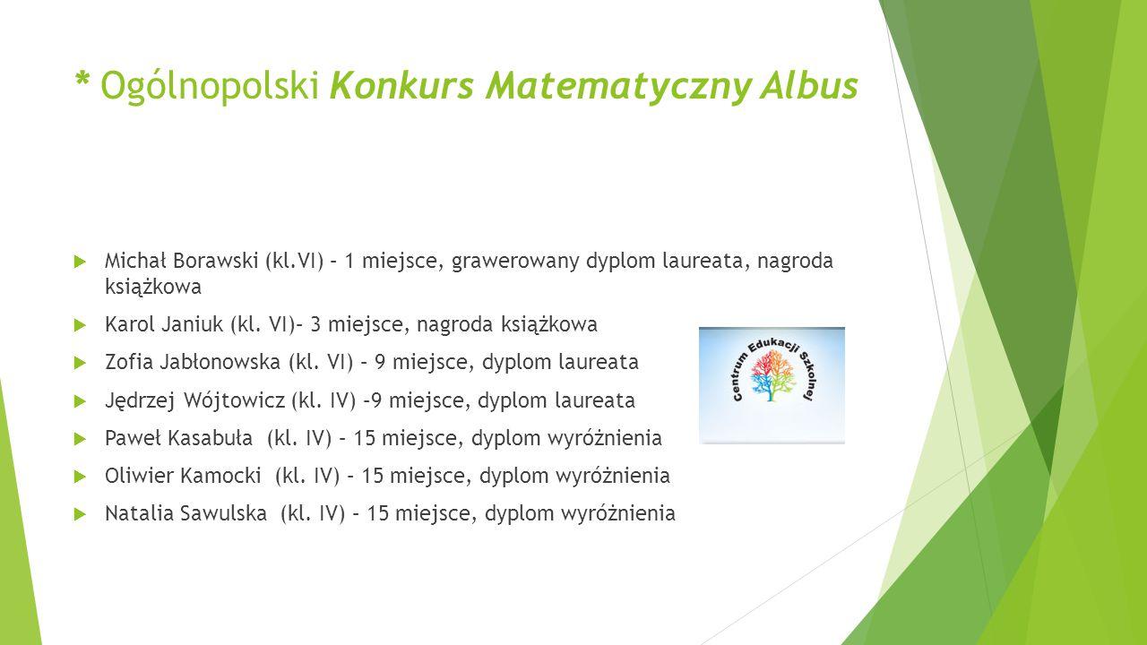 * Ogólnopolski Konkurs Matematyczny Albus