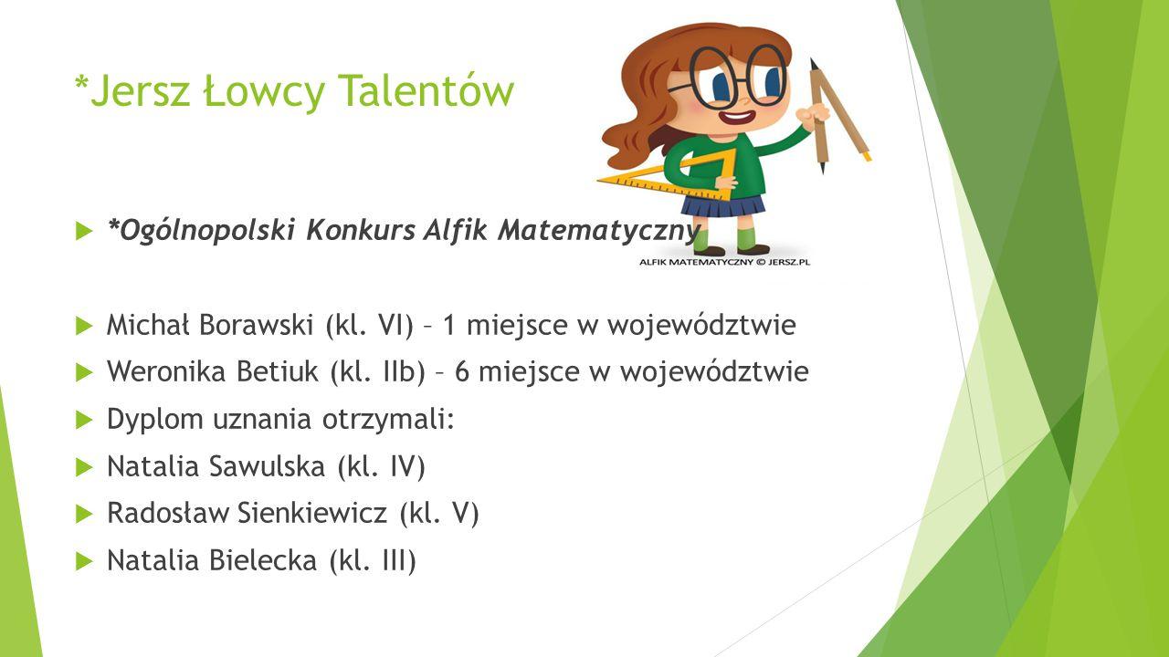 *Jersz Łowcy Talentów *Ogólnopolski Konkurs Alfik Matematyczny