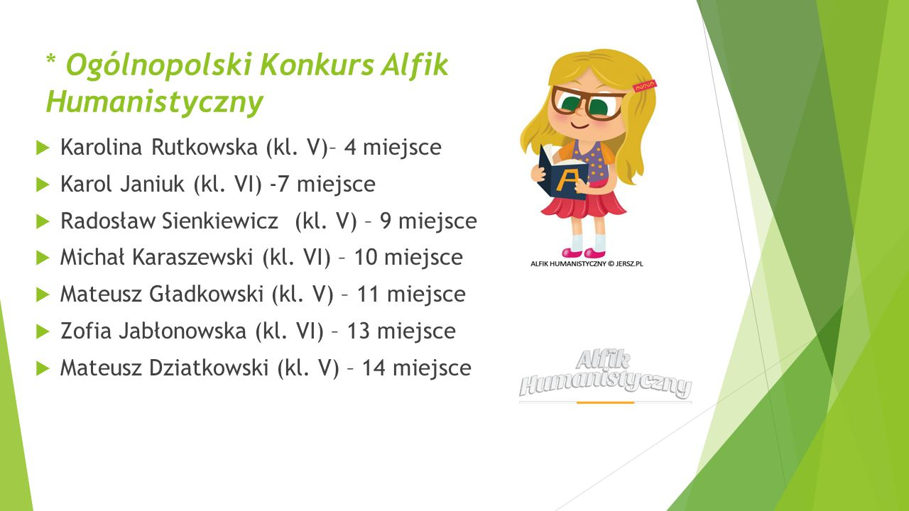 * Ogólnopolski Konkurs Alfik Humanistyczny