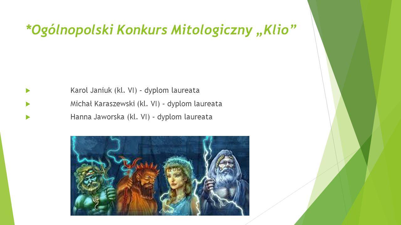 """*Ogólnopolski Konkurs Mitologiczny """"Klio"""