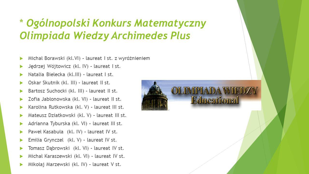 * Ogólnopolski Konkurs Matematyczny Olimpiada Wiedzy Archimedes Plus