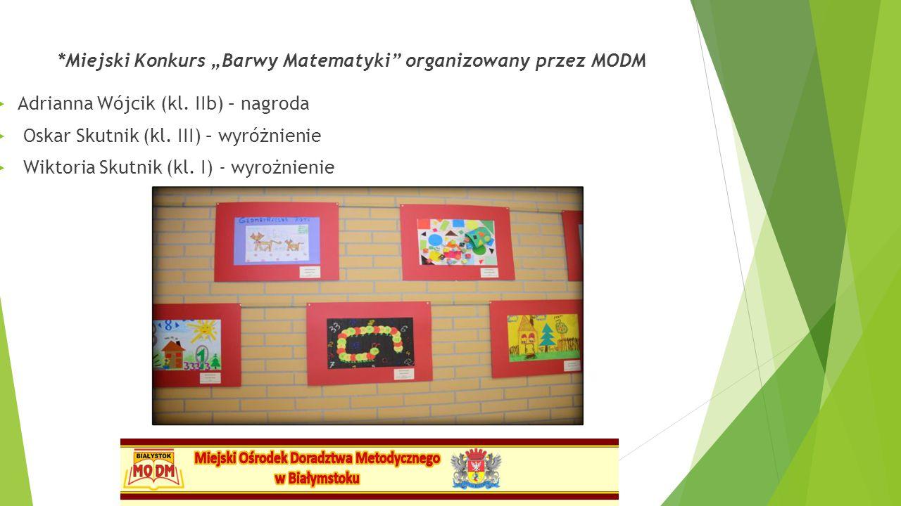 """*Miejski Konkurs """"Barwy Matematyki organizowany przez MODM"""